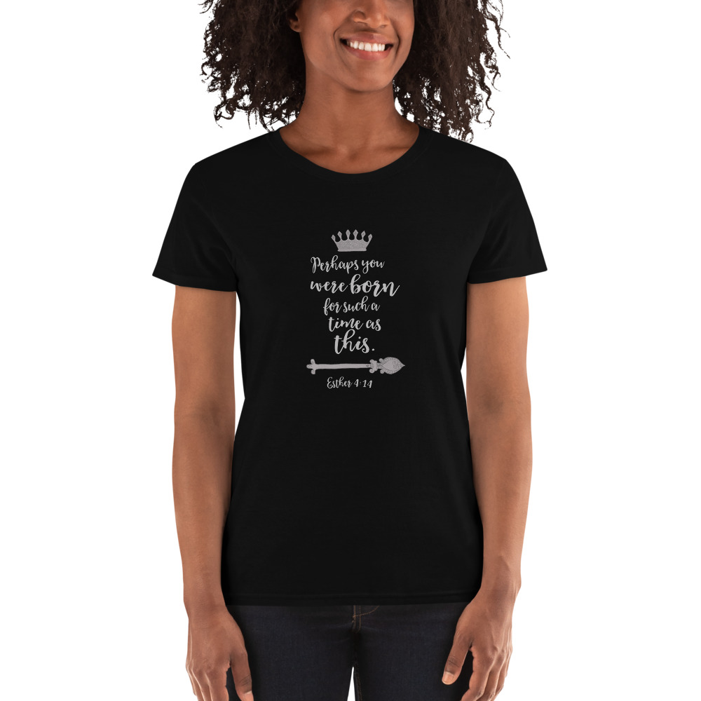 Esther 4:14, Scoop-neck T-shirt With Silver Text
